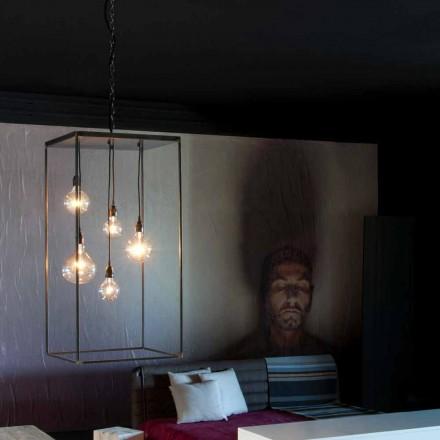 Lampa wisząca z ręcznie wykonaną żelazną konstrukcją Made in Italy - Cosma