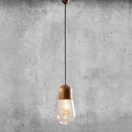 Lampa wisząca w stylu vintage z mosiądzu i szkła - Aldo Bernardi Guinguette