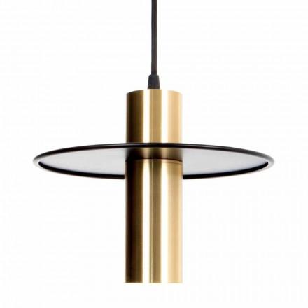 Ręcznie robiona lampa wisząca z żelaza i mosiądzu z diodami LED Made in Italy - Astio