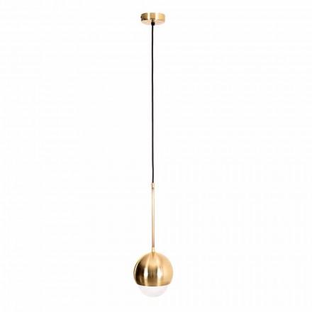 Ręcznie robiona lampa wisząca z mosiądzu i szkła dekoracyjnego Made in Italy - Gandia