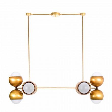 Ręcznie robiona lampa wisząca z mosiądzu i szkła satynowego Made in Italy - Gandia