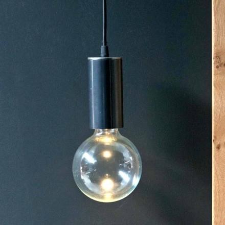 Lampa wisząca z żelaza i szkła z bawełnianym kablem Made in Italy - Ampolla