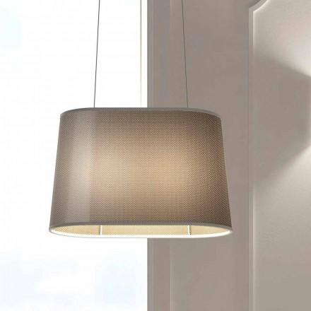 Podwieszana lampa metalowa z kloszem z siatki lub lnu Made in Italy - Jump