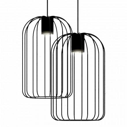 Nowoczesna lampa wisząca z metalową konstrukcją drucianą Made in Italy - Cage