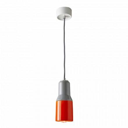 Nowoczesna lampa wisząca w ceramice i aluminium wykonana we Włoszech w Azji