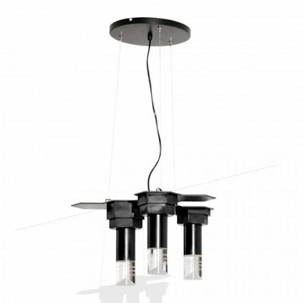 Nowoczesna lampa wisząca z matowego czarnego metalu i pleksi Made in Italy - Dalbo