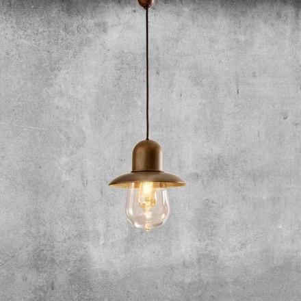 Lampa wisząca w stylu vintage z mosiężnym odbłyśnikiem - Guinguette Aldo Bernardi