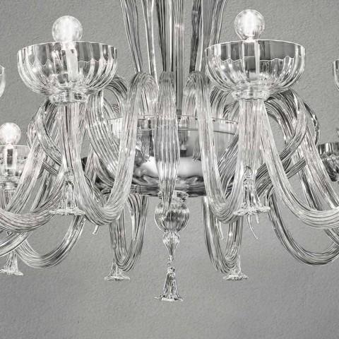 12 jasnych ręcznie robionych żyrandoli ze szkła weneckiego, wyprodukowanych we Włoszech - Regina