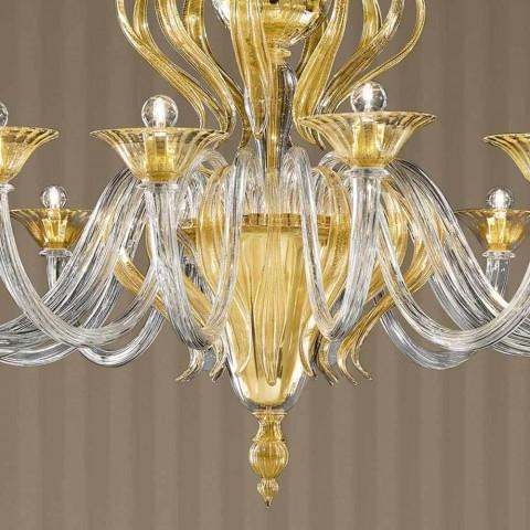 16-lampowy żyrandol ze szkła weneckiego, wyprodukowany we Włoszech - Agustina