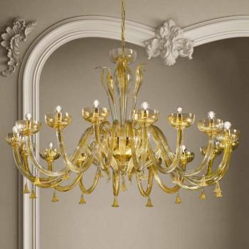 Żyrandol 16 świateł ze szkła weneckiego i złota, ręcznie robiony we Włoszech - Regina