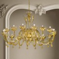 16 lampek ze szkła weneckiego i złoty żyrandol, ręcznie robione we Włoszech - Regina