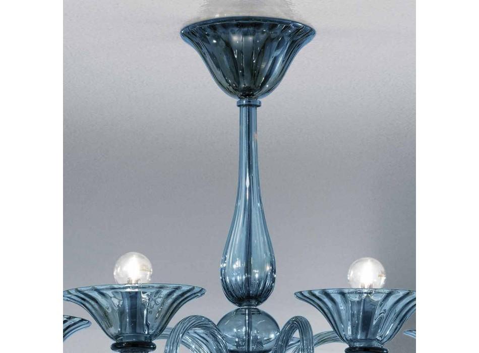 5-punktowy żyrandol ze szkła rzemieślniczego z Wenecji, wyprodukowany we Włoszech - Margherita