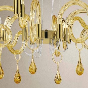 6 jasnych ręcznie robionych żyrandoli ze szkła weneckiego Made in Italy - Bernadette