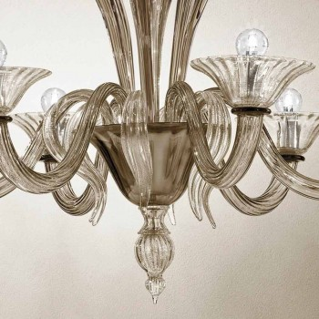 Artisan 6-lekki żyrandol z wędzonego szkła weneckiego Made in Italy - Agustina