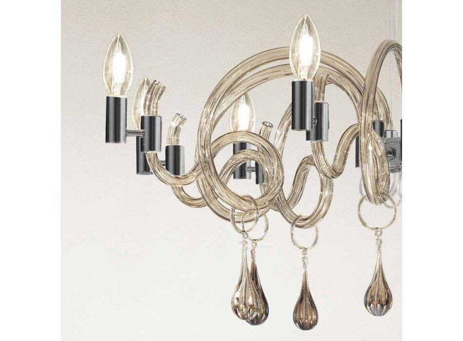 9 jasnych ręcznie robionych żyrandoli ze szkła weneckiego Made in Italy - Bernadette