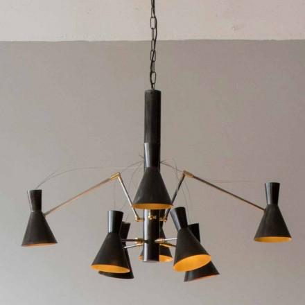 Ręcznie robiony żyrandol z żelazną i aluminiową konstrukcją Made in Italy - Selina