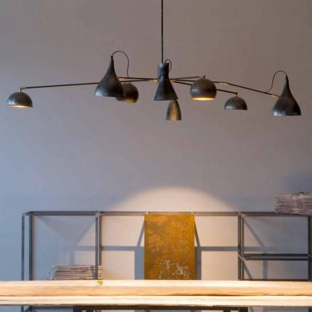 Ręcznie robiony żyrandol z żelaza z aluminiowymi kloszami Made in Italy - Verino