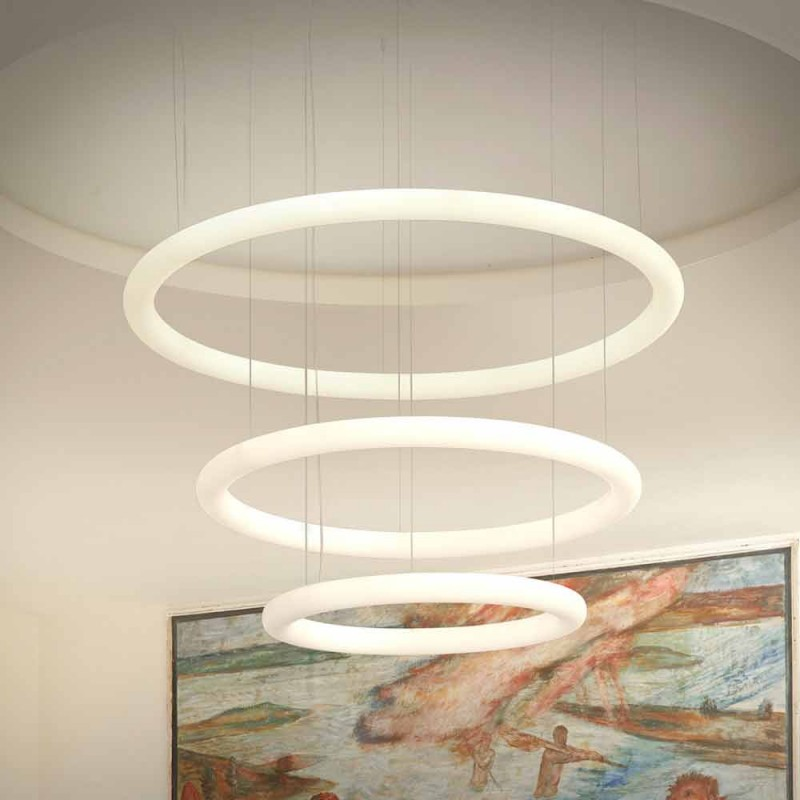 Biały żyrandol z metalową rozetą Made in Italy - Slide Giotto