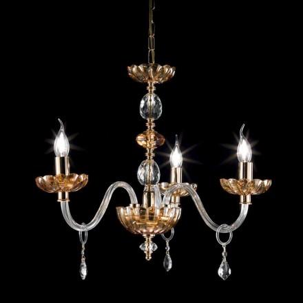 Żyrandol klasyczny 3 ramienny ze szkła model Belle
