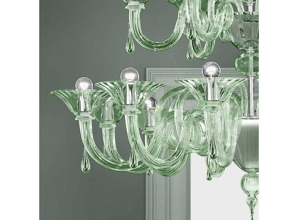 18-punktowy żyrandol ze szkła weneckiego ręcznie robiony we Włoszech - Margherita