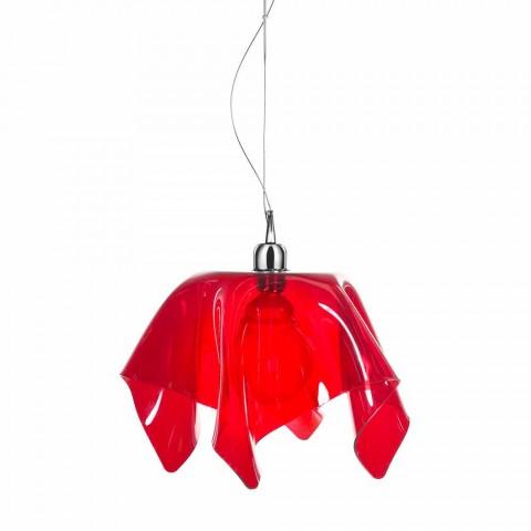 Czerwony przezroczysty żyrandol z Daphne wykonany w draperii we Włoszech