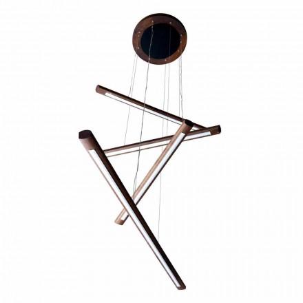 Lampa design 4 punktowa z drewna Grilli York wykonana we Wloszech