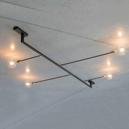 Ręcznie robiony żyrandol z żelaza z 4 lampkami Made in Italy - Anima
