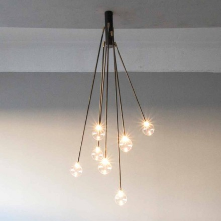 Ręcznie robiony żyrandol z żelaza z 7 lampkami Made in Italy - Ombro