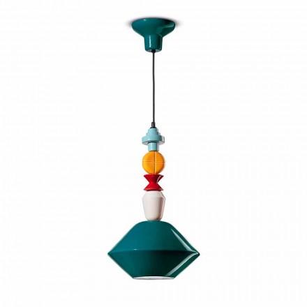 Zielona lub żółta ceramiczna lampa wisząca Made in Italy - Ferroluce Lariat