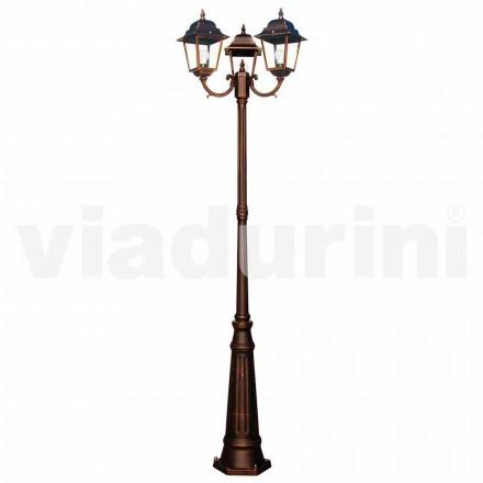 Klasyczna zewnętrzna latarnia z trzema światłami, produkowana we Włoszech, Aquilina