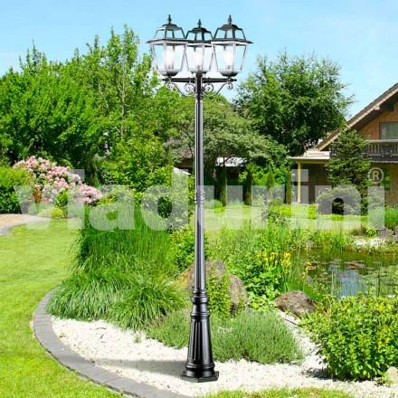 Klasyczna lampa ogrodowa z trzema światłami wykonana z aluminium, Kristel
