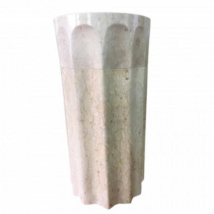 Umywalka kolumnowa Daisy z białego kamienia naturalnego, unikatowy element