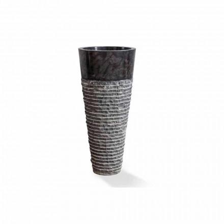 Umywalka kolumnowa o nowoczesnym designie z błyszczącego czarnego marmuru - Merlo