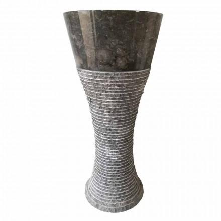 Umywalka na postument z ciemnoszarego kamienia naturalnego Fara, unikatowe