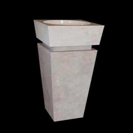 Umywalka stojąca z kamienia Sire biała, wykonana ręcznie