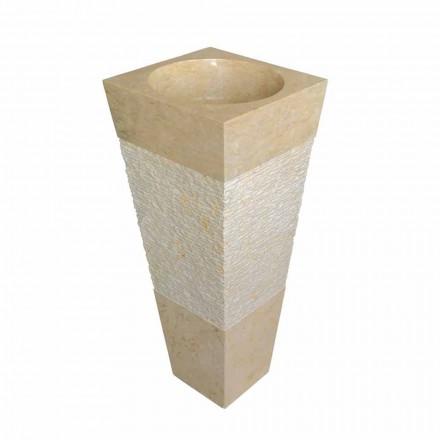 Piramidy kamienne kolumny Umywalka naturalne beżowe Nias