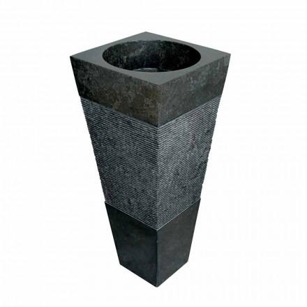 Umywalka na postumencie w kształcie piramidy z czarnego kamienia naturalnego Nias