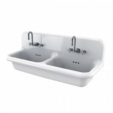 Umywalka podwójna ścienne z białej ceramiki Andy
