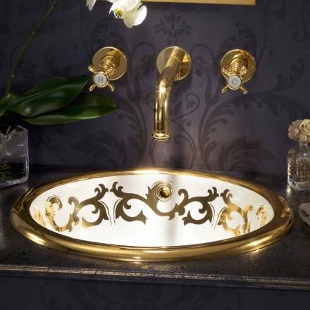 Wbudowana umywalka dekoracyjna z gliny ognistej i 24-karatowego złota wykonana we Włoszech, Otis