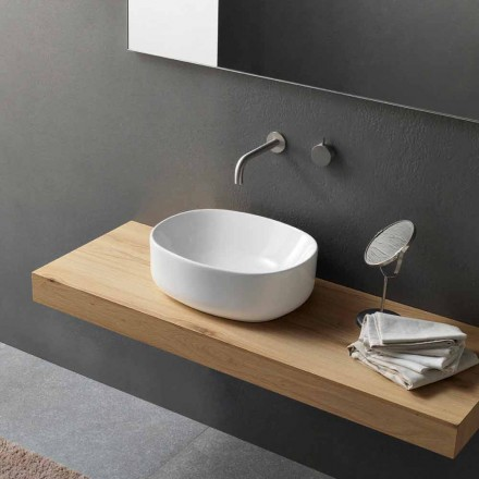 Nowoczesna owalna umywalka nablatowa z białej ceramiki - Ventori2