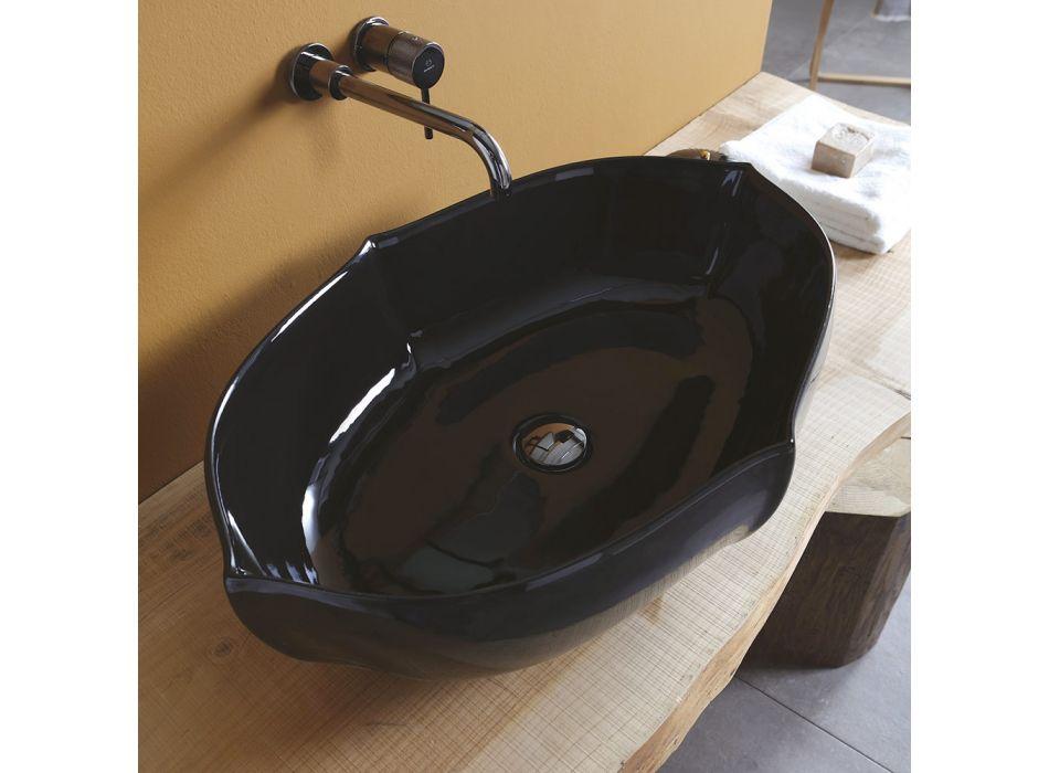 Błyszcząca ceramiczna umywalka łazienkowa nablatowa Made in Italy - Oscar