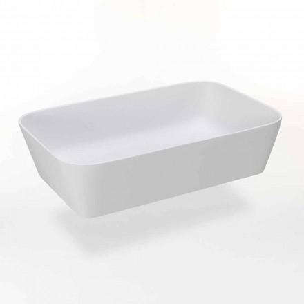 Prostokątna umywalka nablatowa z matowej żywicy Made in Italy - Cavan