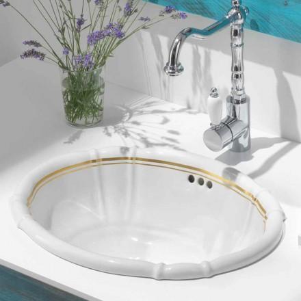 Wbudowana umywalka w łazience z porcelany i 24-karatowego złota, Santiago