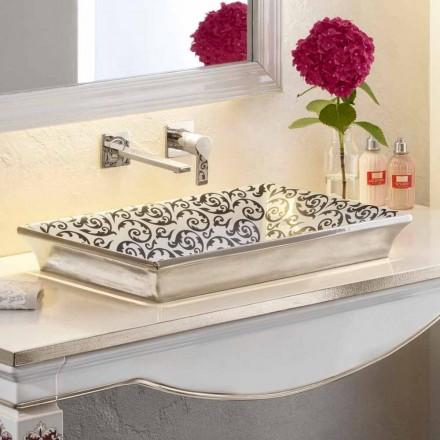 Półzlewana umywalka ręcznie zdobiona gliną ognistą we Włoszech, Guido