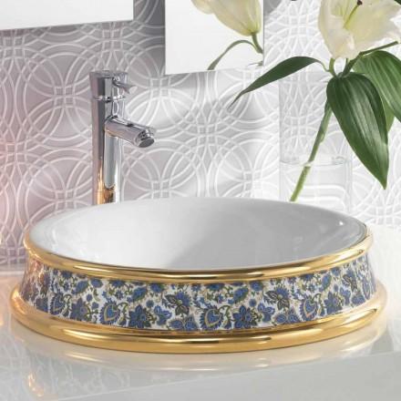 Umywalka łazienkowa z półpowłoką z gliny ogniowej / 24-karatowego złota wykonana we Włoszech, Manilo