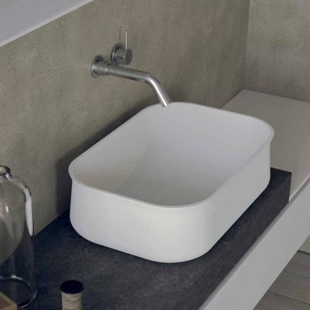 Prostokątna biała umywalka nablatowa o nowoczesnym designie - Tulyp2