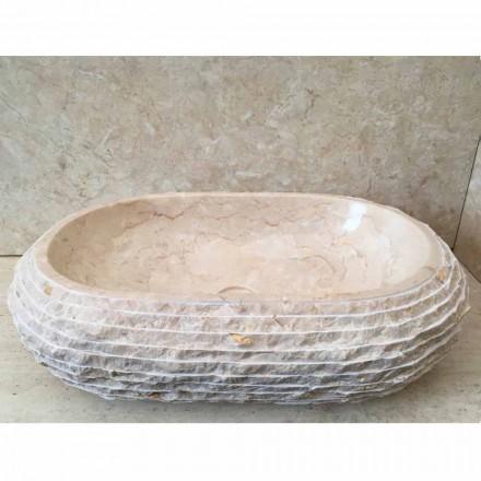 Umywalka nablatowa biała Cora owalna, unikatowa robiona ręcznie