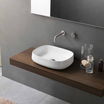 Umywalka ceramiczna o nowoczesnym designie z białym blatem Made in Italy - Tune2