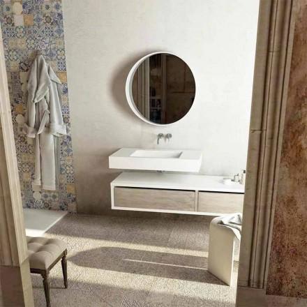 Góra ze zintegrowanym centralnym zlewem do łazienki Gemona, wyprodukowana we Włoszech
