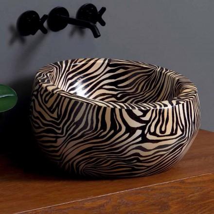 Umywalka okrągła nablatowa z ceramiki made in Italy, Elisa